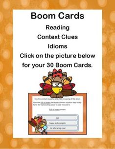 Distance Learning Boom Cards-Reading-Context Clues-Idioms-Grade 2-4