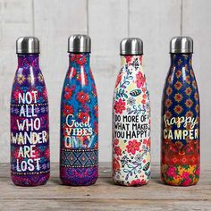Double Wall Water Bottle - Cutest. Water. Bottles. Ever. These stainless steel bottles make taking your cold or hot beverage with you effortless. They feature a double wall insulation and a secure fitting lid with a rubber seal to eliminate leaks! Fits most cup holders.