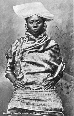 Africa | Swahili woman in Arabic costume.  Zanzibar || Vintage postcard