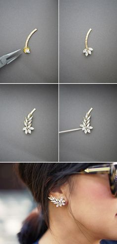 DIY Earrings and Homemade Jewelry Projects - Ear Cuff - Easy Studs Ideas with Beads Dangle Earring Tutorials Wire Feather Simple Boho Handmade Earring Cuff Hoops and Cute Ideas for Teens and Adults Wire Jewelry, Jewelry Crafts, Jewelery, Jewellery Box, Jewelry Ideas, Jewelry Rings, Jewelry Rack, Beaded Jewellery, Necklace Ideas