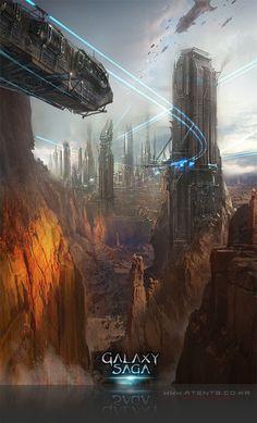 Artist: Atents - Title: 11galaxy2 - Card: Unknown Landscape Concept, Future City, Sci Fi Fantasy, Cyberpunk, Game Art, Saga, Science Fiction, Concept Art, Exterior