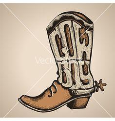 Cowboy boot isolated foe design vector by GeraKTV on VectorStock®