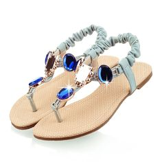 97d36216fd31 AIWEIYi Womens Rhinestone Flat Heel Gladiator Ankle Strap Strappy Sandals      Visit the image