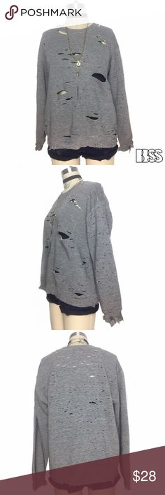 FALL ESSENTIAL! VINTAGE DISTRESSED COZY SWEATSHIRT FALL ESSENTIAL! VINTAGE DISTRESSED COZY SWEATSHIRT!! Amazing super soft worn in heather gray fabric with heavy distressing all over! Great piece to style with DENIM or over a DRESS! Vintage Tops Sweatshirts & Hoodies