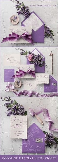 Ultra Violet - The 2018 Pantone color of the year. Beautiful purple shade works perfectly as an accent to your wedding color scheme. Our idea for matching wedding stationery is romantic invitation with velour ribbon, modern calligraphy and touch of delicate floral printing and lovely Save the Date card #wedding #ideas