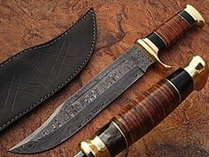 "CUSTOM MADE DAMASCUS W/LEATHER W/BUFFALO HORN HANDLE 16"" UNDER DOWN BOWIE KNIFE 