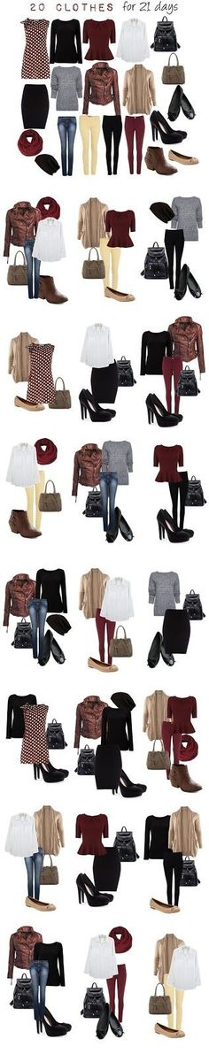 20 clothes combination for 21 days: change them to your favorite colors and shapes!