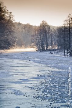 Ourthe (Belgian Ardennes) under ice and snow....