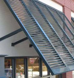 If You Need Custom Hurricane Shutters, Look No Further. Our Team At Awnings Above Creates Custom Bahama Style Hurricane Shutters For Commercial Businesses In Atlanta, GA. Pallet Shutters, Red Shutters, Interior Shutters, Bermuda Shutters, Bahama Shutters, Café Exterior, Cottage Exterior, Exterior Paint, California Shutters