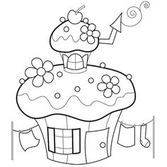 Example of a black and white illustration of a pixie house. I drew a set of 12 for a themed set for Bunnycup embroidery. Applique Patterns, Applique Designs, Embroidery Applique, Quilt Patterns, Embroidery Designs, Puzzle Photo, Motifs D'appliques, House Quilts, Coloring Book Pages