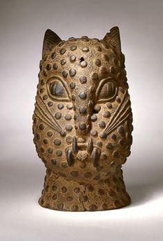 Africa | Leopard head; bronze | Benin culture.  Nigeria | 17th century