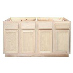 Attractive Kitchen Sink Base Cabinet 60Unfinished Oak  KITCHEN   CABINETS   UNFINISHED    Surplus Building Materials