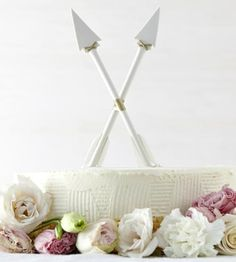 Crossed Arrows Porcelain Wedding Cake Toppers by Redraven Studios on Scoutmob Shoppe
