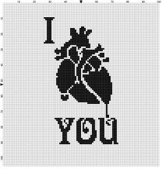 I heart you, love valentines day Cross Stitch Pattern - Instant Download