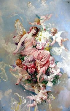 Cherub, a member of the second order of angels, whose distinctive gift is knowledge, often represented as a winged child. I Believe In Angels, Angels Among Us, Angels In Heaven, Guardian Angels, Angel Art, Renaissance Art, Faeries, Vintage Art, Fantasy Art