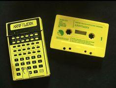 """Cassette single of """"Pocket Calculator"""" by Kraftwerk released 1981. The cardboard box has a flip lid just like a cigarette box."""