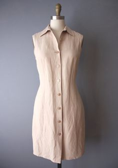89874efd75 vintage 90s minimalist sheath dress   button down neutral shirtdress   silk linen  dress   Size 6
