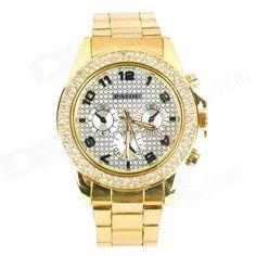PAIDU 58878 Zinc Alloy Case Stainless Steel Band Quartz Analog Wrist Watch - Golden (1 x 626)