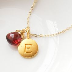 Personalized+Initial+Pendant+Disc+with+by+LaBodaCollection+on+Etsy,+$41.00
