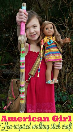 American Girl Lea-inspired walking stick craft for kids   would be fun to make with kids for spending time outdoors as a family, and with some less girly ribbons/fabric boys would enjoy it too.