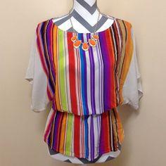 Trina Turk silk top Very pretty top. 100 silk. Elastic waist. Wide neck. Very flattering!!  Excellent condition. Trina Turk Tops Blouses