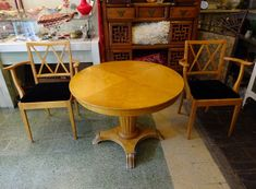 Antique Biedermeier Style Satin Birch Center Dining Table and Four Chairs