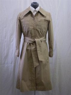 Vintage Trench Coat Raincoat Tan Long Belted Vintage Size 5/6 Small to Medium