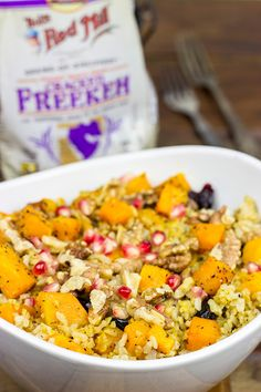 Mix things up a bit!  This Roasted Squash and Freekah Pilaf is a delicious seasonal side dish! | Spiced