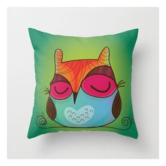 Owl Throw Pillow (275 ZAR) ❤ liked on Polyvore featuring home, home decor, throw pillows, animal throw pillows, owl home decor, owl home accessories and owl throw pillow
