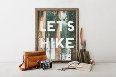 """PRINTABLE Art """"Let's HIKE"""" Print, Hiking Print, Wanderlust Forest Trees Nature Lover Gifts, Camping Print Typography Quote Cabin Dorm Decor"""