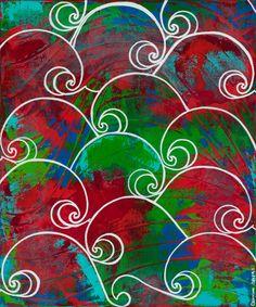 "Rojo Rising 20""x24"" acrylic 2014 by Cristina Sayers"