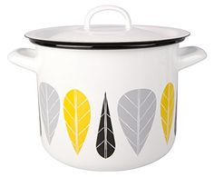 Muurla Leaves Series Enamel Casserole With Lid 312Quarts White Yellow Black and Grey >>> Want to know more, visit