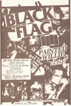 Black Flag-web page. Concert Flyer, Concert Posters, Rock Posters, Band Posters, Punk Poster, Gig Poster, New Flyer, Music Covers, Film Music Books