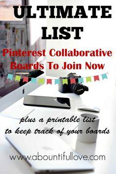 A Bountiful Love: Ultimate List of Collaborative Pinterest Boards