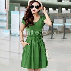 Women's Casual / Cute / Party Solid Shift / Loose Dress , Round Neck Above Knee Linen