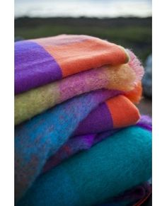 Avoca Throws - Photo of some of our Lambswool, Mohair & Cashmere Blankets woven in our Mill in Ireland