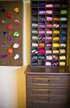 What a great idea for men's ties! By keeping them organized and tucked away neatly they will stay fresh and wrinkle free.