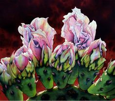 """Jonathan Frank, """"Coming of Age,"""" watercolor cactus flowers Watercolor Succulents, Watercolor Cactus, Watercolor Artists, Watercolor Landscape, Watercolor Paintings, Watercolors, Floral Paintings, Ink Paintings, Watercolor Techniques"""