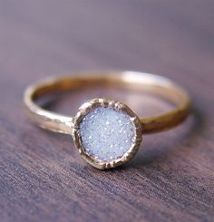 Vanilla Druzy Gold Ring - Mothers Day Sale. $79.00, via Etsy.