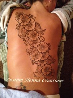 Henna on back, mehndi, Floral design, Custom Henna Creations