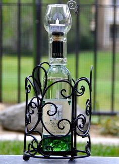3 Wine or Liquor Bottle Tea Light Candle Chimney Set Wedding Favor Gift NIB New  #Franmara