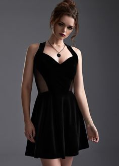 Channel your inner femme fatale in this gloriously refined black velvet dress! This beautiful dress is crafted from rich black velvet with a touch of stretch for a flattering body-hugging silhouette. Beautiful Prom Dresses, Cute Dresses, Formal Dresses, Black Velvet Dress, Gothic Outfits, Mesh Dress, Retro Dress, Dress To Impress, Designer Dresses