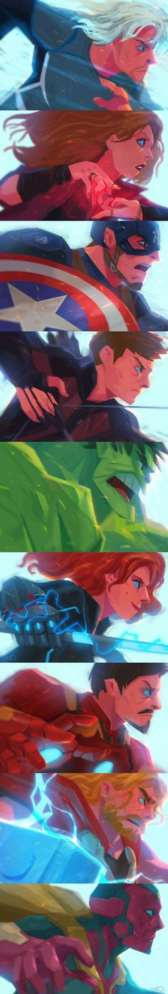 »Natasha is the only one smirking like she did in the winter soldier when she was 'getting chased by him'«. The Avengers by Seoro.O (zgul-osr1113 on DeviantART)