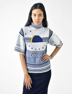 eclipse jacquard turtleneck sweater
