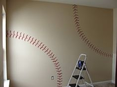 Baseball Wall for Nursery. Might just do this in my room, instead of it being for a nursery.