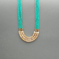 Vintage Bone Necklace Multistrand Tribal Turquoise by pinguim