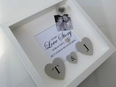 Engagement, Wedding or Anniversary gift frame. For everyone's very own love story. Handcrafted personalised shadow box frame with photo
