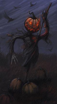 Halloween Art: Scarecrow ~Via Rosemary Aceves Retro Halloween, Halloween Kunst, Halloween Scarecrow, Halloween Artwork, Halloween Painting, Halloween Signs, Halloween Pictures, Halloween Wallpaper, Halloween Horror