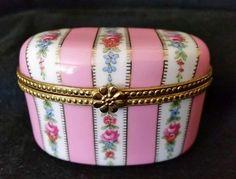 Vintage-Limoges-China-Trinket-Box-Pink-Green-Gold-Leaf-Floral-Stripes