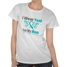 Ovarian Cancer Teal Tribal Ribbon Mom Shirt by GiftsForAwareness.com